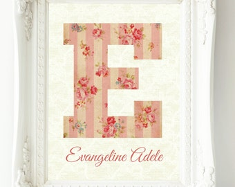 Baby Girl Nursery Wall Art, Custom Name Print, Baby Gift, New Mom Gift, Coral Nursery Decor, Wall Art Girl, Personalized Baby, Floral Letter