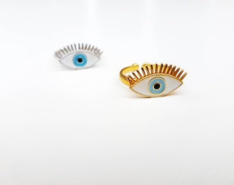 evil eye ring, protection ring, gold ring, silver ring, sterling silver, blue eye ring,fashion ring, adjustable ring, greek jewelry