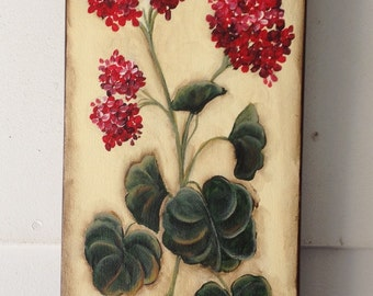 Red Geranium canvas painting