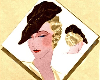 Plus Size (or any size) Vintage 1934 Beret Flower Flapper Hat Millinery Sewing Pattern - PDF - Pattern No 1611 Marilynn 1930s 30s Retro