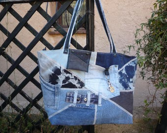 XXL denim patchwork tote bag