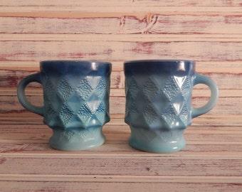 Fire King Kimberly Mugs - set of 2 - Blue