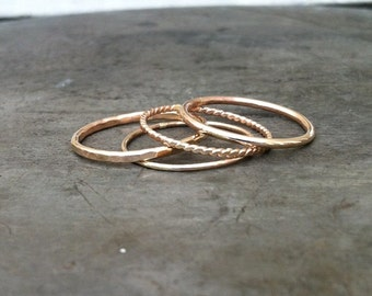 Stackrings, 14k gold filled, mix of four textures