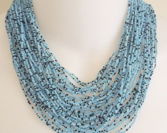 "Vintage Light Blue and Black Seed Bead 38 Strand 16""Beaded Necklace"