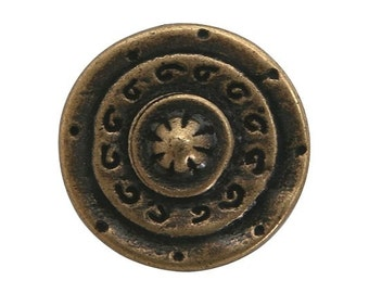 12 Gladiator 3/4 inch ( 20 mm ) Dill Metal Buttons Antique Brass Color
