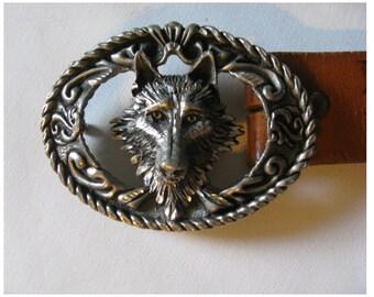 Vintage 70s wolf buckle belt, vintage hippie belt, pewter buckle belt, tooled leather belt, acorn belt