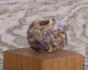 Handmade Glass Lampwork Lentil Focal Bead - Winter Garden