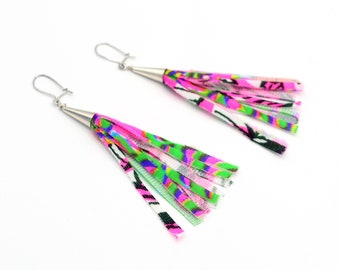 Neon Tassel Earrings - Pink and Green- Limited Edition Key West Collection