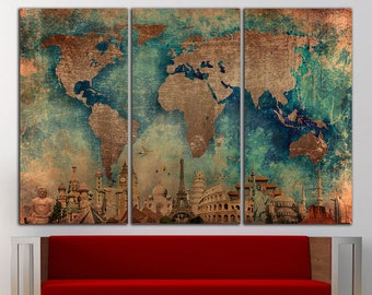 World Map Wall Art Canvas Print World Map Wall Decor World Map Print Old World Map Wall Art Travel Map Canvas Art Canvas Decor