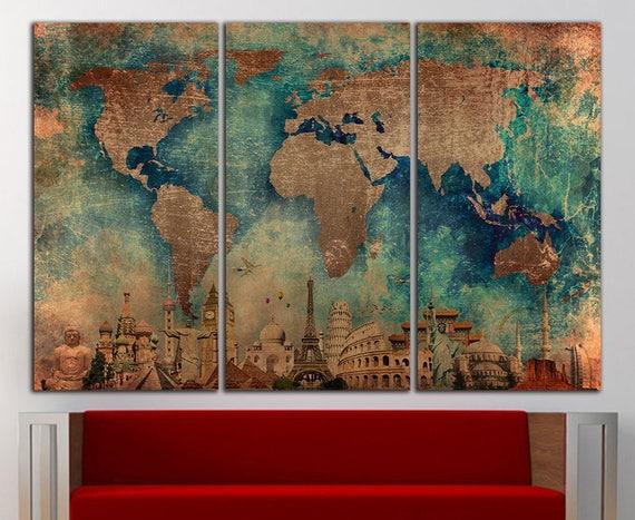 World Map Wall Art Canvas Print World Map Wall Decor World Map
