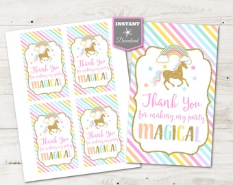 "INSTANT DOWNLOAD Printable Unicorn 3""x5"" Thank You For Making My Party Magical Hang Tags / Party Favors / Unicorns & Rainbows / Item #3515"
