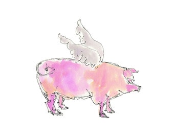 """WHEN PIGS FLY -1..Clipart / Digital Download / Hi Resolution of Original Watercolor painting. 8""""x10"""" Great for a multitude of applications."""