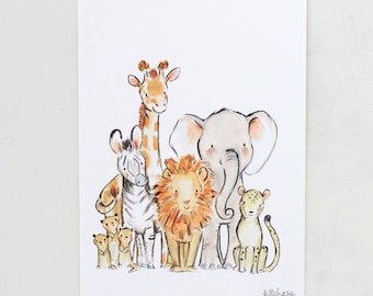 Safari nursery art, elephant wall art, Wild Safari, Giclée Print, Kit Chase artwork, 5x7, 8x10, 11x14