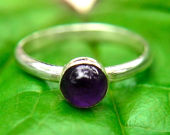 Amethyst Ring with Silver, Silver Stacking Ring with Amethyst Gemstone, February Birthstone, Bridesmaids Gifts, Abish Jewelry Works
