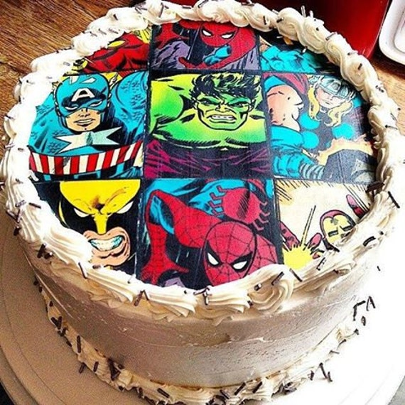 SUPERHERO edible cake toppers superhero edible cupcake