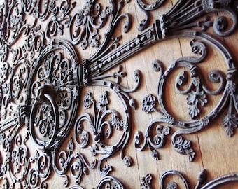 Paris France, Paris Notre Dame, door knocker, lion door knocker, detailed iron work, french oak door, Paris home decor, 16x24, art print