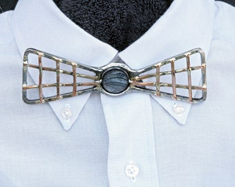 Metal Bow Tie, Forged Iron jewelry, Steel, Copper, Turquoise