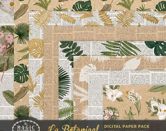 Botanical Digital Paper, Monstera Paper, Vintage Floral Printable Pattern Background Rustic Wedding Invitation