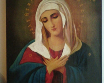 "Holy Mother of God ""Tenderness"", icon hand-painted of hot colors directly on solid wood 18x24x2 см ( 7.0""x 9.6""x0.8"" )"