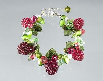 Glass Raspberry Bracelet  Lampwork bead jewelry hand blown glass art birthday gift, Mother's Day gift for gardener, cook