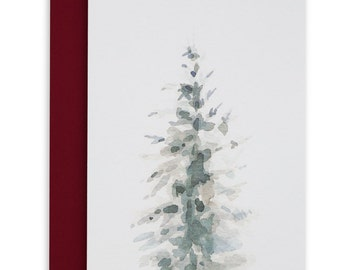 The Spruce Card, Watercolour, Holiday Card, Mighty Evergreen, Treehugger, Canadiana, Northern Woods, Evergreen Dream, Blue Spruce, Christmas