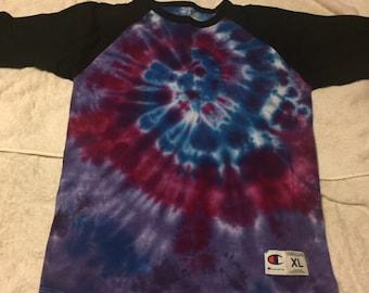 Tie Dye Baseball style tee ADULT XL