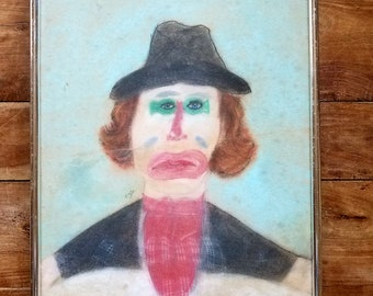 Vintage Clown Pastel Painting by Mark Goodwin, Original Painting, Clown Painting, Mark Goodwin Artist