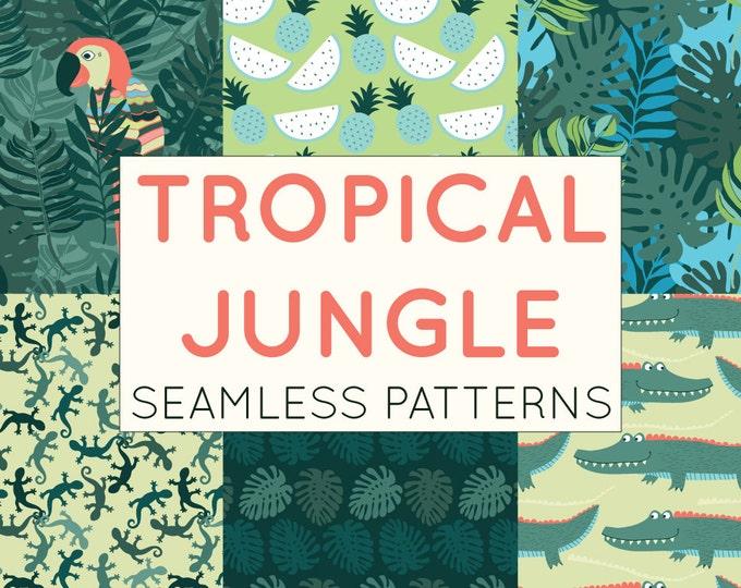 Tropical Jungle Pattern Set - Seamless Patterns, Digital Paper, Scrapbooking Paper, Crocodile, Foliage, Parrot, Boys Patterns Commercial Use
