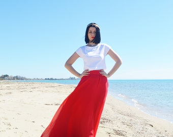 Red Chiffon Skirt, Wedding Skirt, Maxi Skirt, Engagment Skirt, Bridesmaids Chiffon Skirt, Women Chiffon Skirt, Bridesmaids Dress Skirt