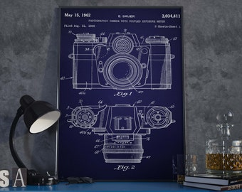 Camera Patent Print| Vintage Camera Poster| Gift for Photographer| Home Decor| Gift for Director| HPH037