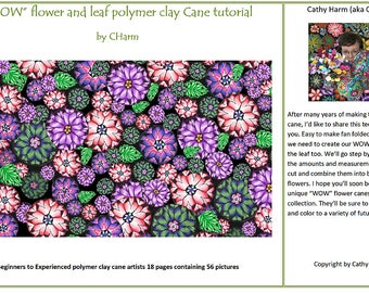 WOW flower and leaf  Polymer clay cane tutorial by CHarm