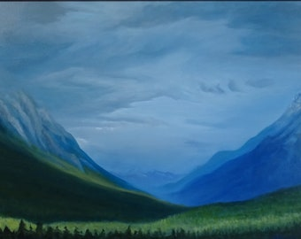 """Mountain Clearing Framed Original Oil Painting by Melissa Wadsworth 41"""" x 29"""""""