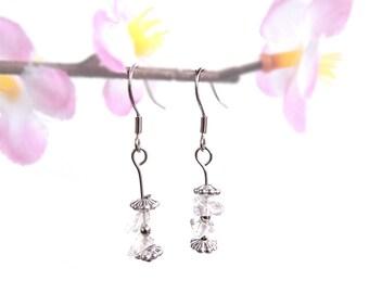 Holistic jewelry, Rock Crystal earrings, esoteric handmade jewelry, silver dangle earrings, holistic esoteric earring, crystal jewelry fyc