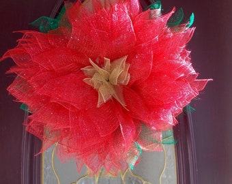 Poinsettia  Mesh Ribbon Wreath Door hanger