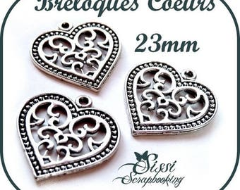 LOT 4 charms CHARMS jewelry SCRAPBOOKING SCRAP silver hearts card love 23mm