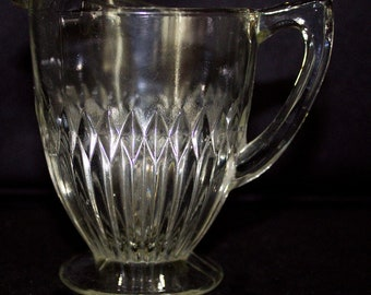 Vintage JEANNETTE Glass Co CREAMER in ANNIVERSARY Pattern - Crystal Color