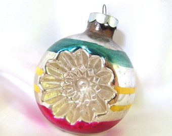 Vintage Christmas Ornament, Large Double Indent Striped Holiday Ornament