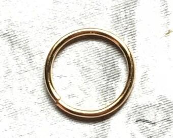 22K Gold Hoop, 18, 20, 22, 24 Gauge, 22K Gold Nose Ring, 22K Gold Cartilage Earring, 6mm 7mm 8mm 9mm 10mm 11mm 12mm