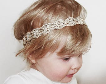 Gold Baby Headband, Toddler Headband, Gold Baby Head Band, Toddler Flower Girl Headband, Christening Headband, Christmas Gold Headband Baby
