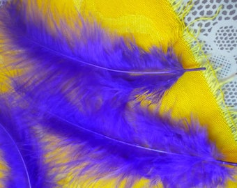 Set of 2 feathers purple bright 13cm