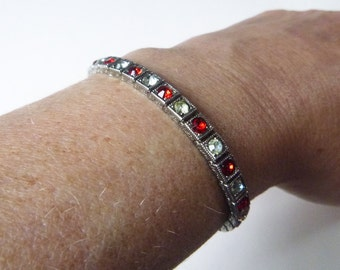 Art Deco sterling silver crystal and red paste rhinestone line bracelet