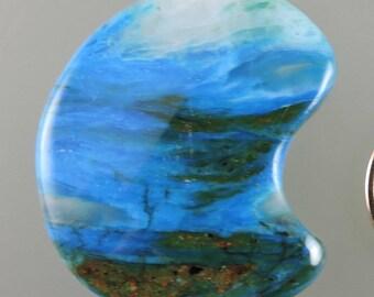 Cabochon bleu opale péruvienne, cabine opale bleu électrique, bleu opale péruvienne créateur, opale bleu cadeau Cab, C2797, main coupés par 49erMinerals