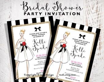 Bridal Shower Invitation Design Printable digital file- Fashion - Wedding Dress