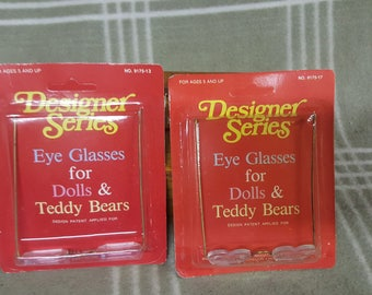 2 Pair of NIP/NOS Bear/Doll Eyeglasses. Designer Series.