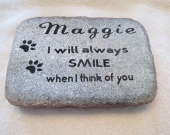 """Personalized Pet Memorial Stone, Garden Stone, Grief, Pet Loss,  6"""" x 9"""" In Memory, Sympathy, Dog, Cat, Grave Marker"""