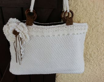 Hand crocheted white cotton bag