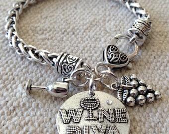 Wine bracelet, wine, wine jewelry, wine diva