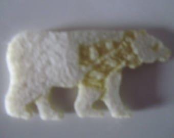 bag of 6 felt bear cream with their scarf - 5.5 cm x 3 cm