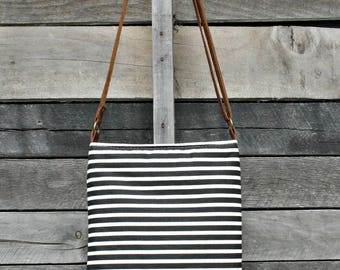 Crossbody Bag, Black and Cream Stripe, Genuine Leather, Everyday Purse, Adjustable Strap