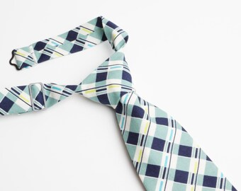 Blue Plaid Neck Tie With Adjustable Strap